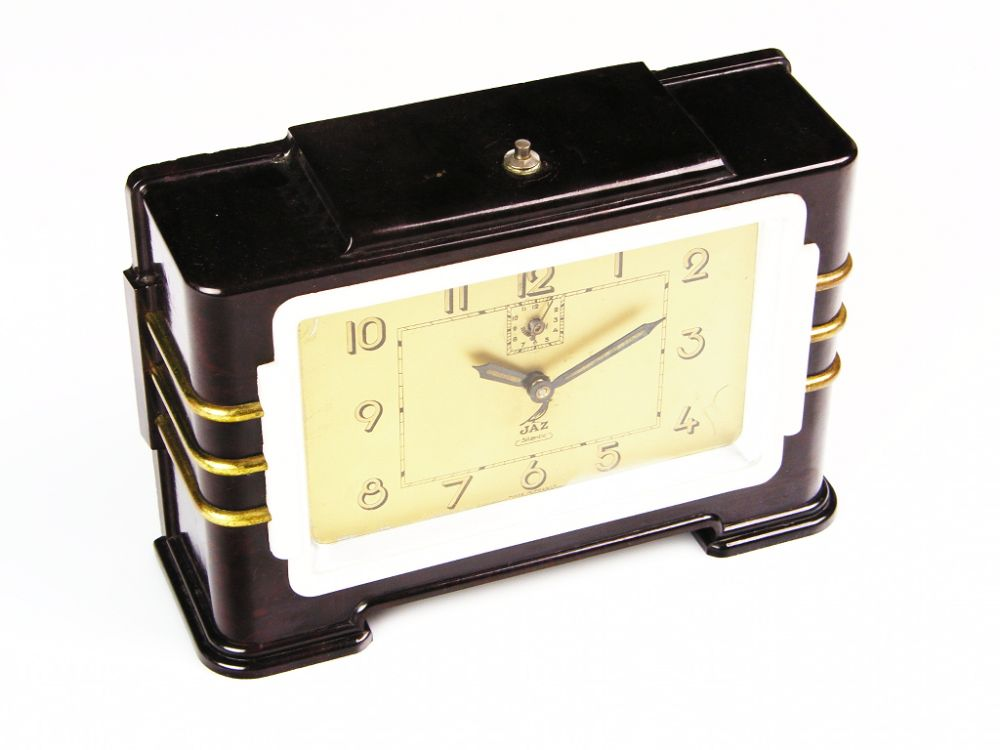 Beautiful art deco alarm clock bakelite from jaz france Art deco alarm clocks