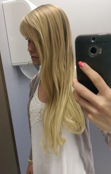 Blondierte haare langhaarnetzwerk
